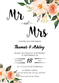 Floral rustic wedding invitation A6 template