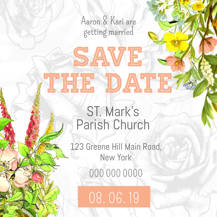 Floral Save the Date Instagram Post