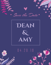 Floral Save The Date Wedding Card