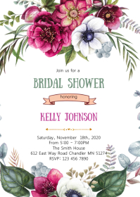 Floral shower party invitation