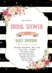 Floral stripe theme party invitation