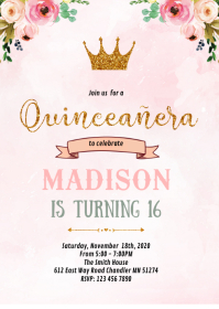 Floral sweet 16th birthday invitation A6 template