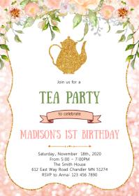 Floral tea birthday party invitation