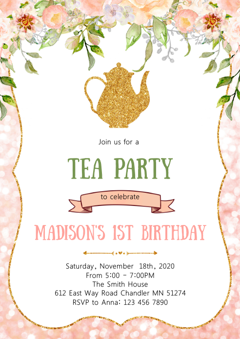 Floral tea birthday party invitation