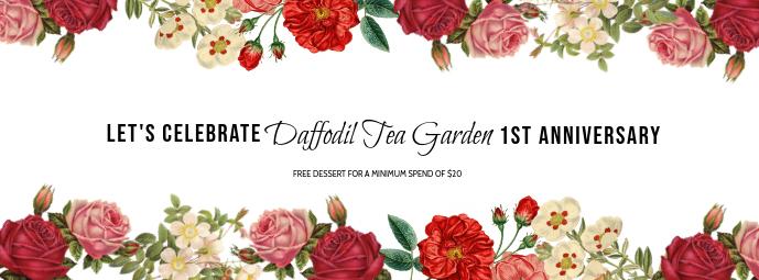 Floral Tea Garden Anniversary Facebook Template