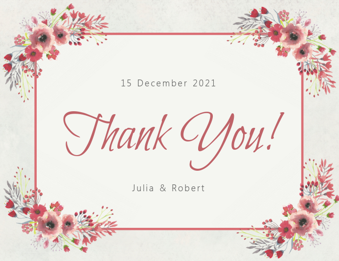 Wedding Gift Thank You Card Template: Copy Of Floral Thank You Card Template