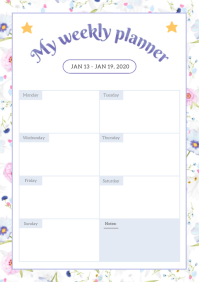 Floral Themed Weekly Planner