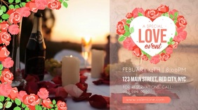 Floral Valentine's Day Party Digital Display Video template