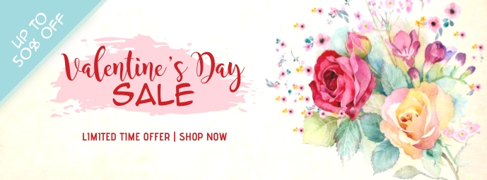 Floral Valentine's Day Sale Facebook Cover template