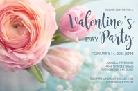 Floral Valentines Day Party Invitation Label template