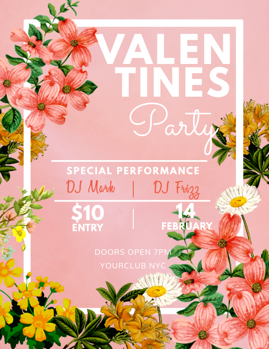 floral valentines party flyer template