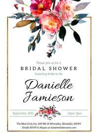 Floral Watercolor Bridal Shower Invitation A5 template