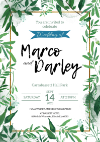 Floral Watercolor Wedding Invitation Card A5 template