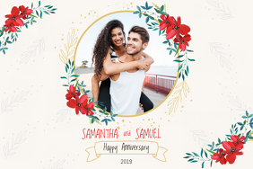 Floral Wedding Anniversary Landscape Poster