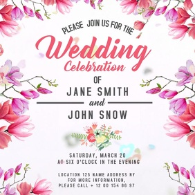 Floral Wedding Celebration Square Video template