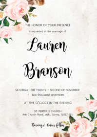 Floral wedding invitation A6 template