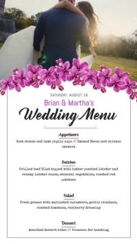 Floral Wedding Menu Portrait Digital Display