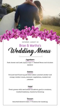Floral Wedding Menu Portrait Digital Display