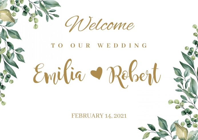 Floral wedding sign botanical A2 template
