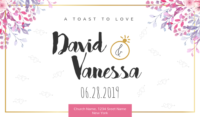 Floral Wedding Tag for Couple template