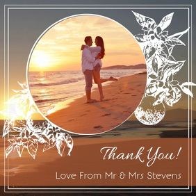 Floral Wedding Thank you Square Video template