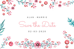 Floral White Save The Date Card Template