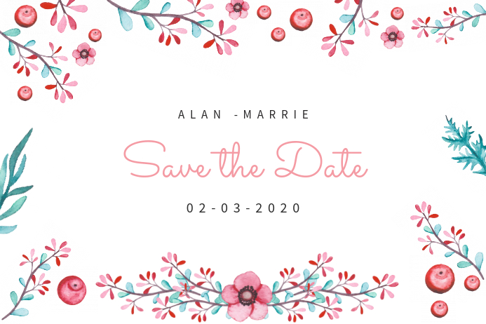 floral white save the date card template postermywall