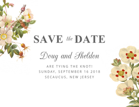 Floral White Save The Date Design Template