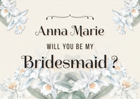 Floral Will You Be My Bridesmaid Postcard Tem