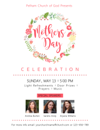 Floral wreath Mothers Day Flyer Template