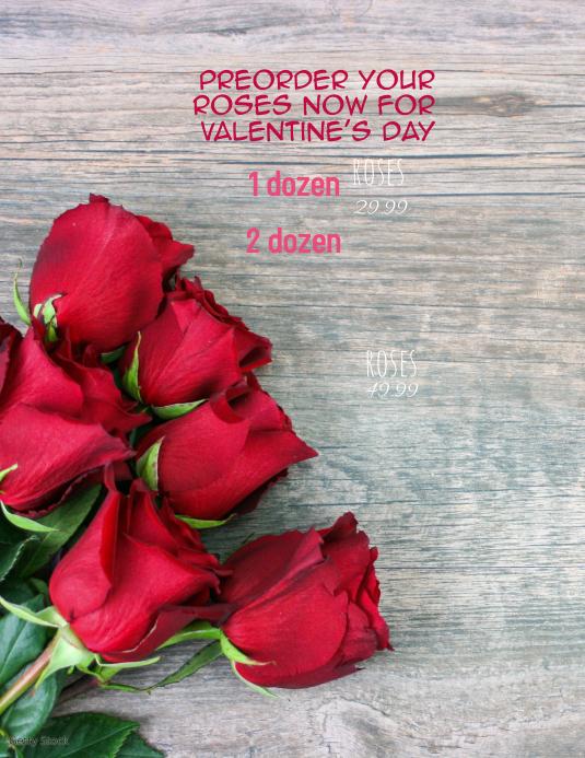Florist Floral Valentines Day Roses Flyer Løbeseddel (US Letter) template