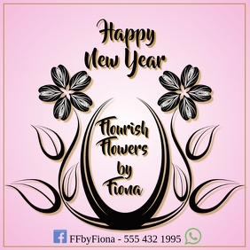 Florist Logo Happy New Year template