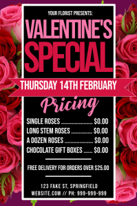 Florist Valentines Pricing Poster