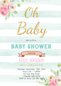 Flower baby shower party invitation