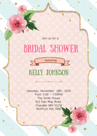 Flower bridal shower invitation