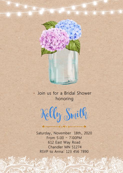 Flower bridal shower party invitation