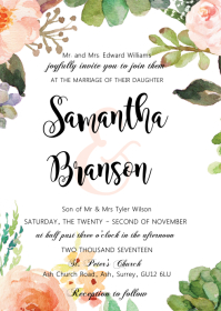 Flower cactus fiesta wedding invitation