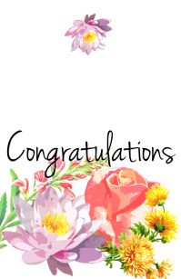 Flower Congratulations Card Half Page Wide template