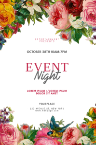 Flower Event Night Flyer Design Template Plakkaat