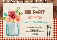 Flower garden bbq party invitation A6 template