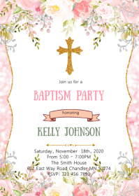 flower glitter baptism party invitation