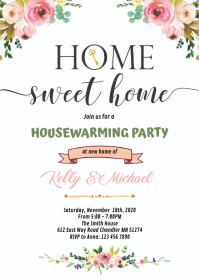 Flower Home sweet home party theme invitation A6 template