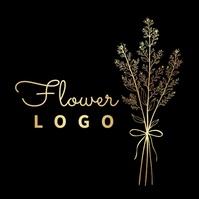 flower leaves GOLDEN logo editable Logotipo template