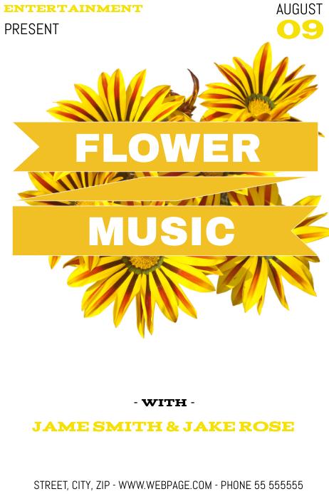 Flower music event flyer template