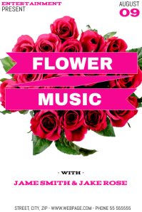 Flower music event flyer template