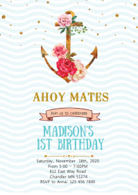 Flower nautical anchor birthday invitation