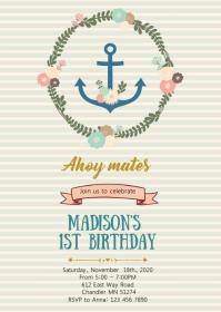 Flower nautical anchor birthday invitation