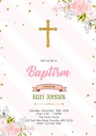 Flower pink theme baptism invitation A6 template