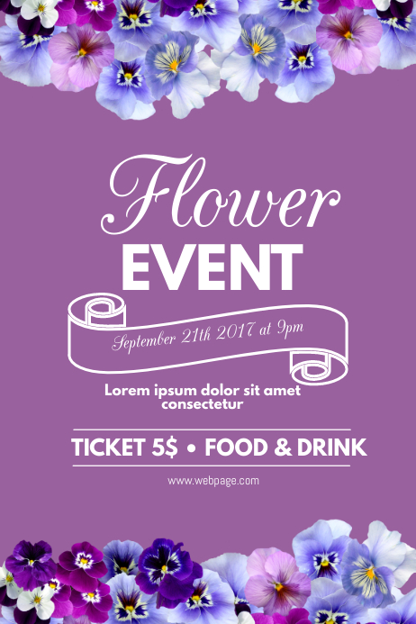 Flower purple event flyer template Iphosta