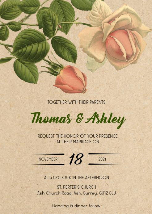 Flower Rustic kraft wedding invitation